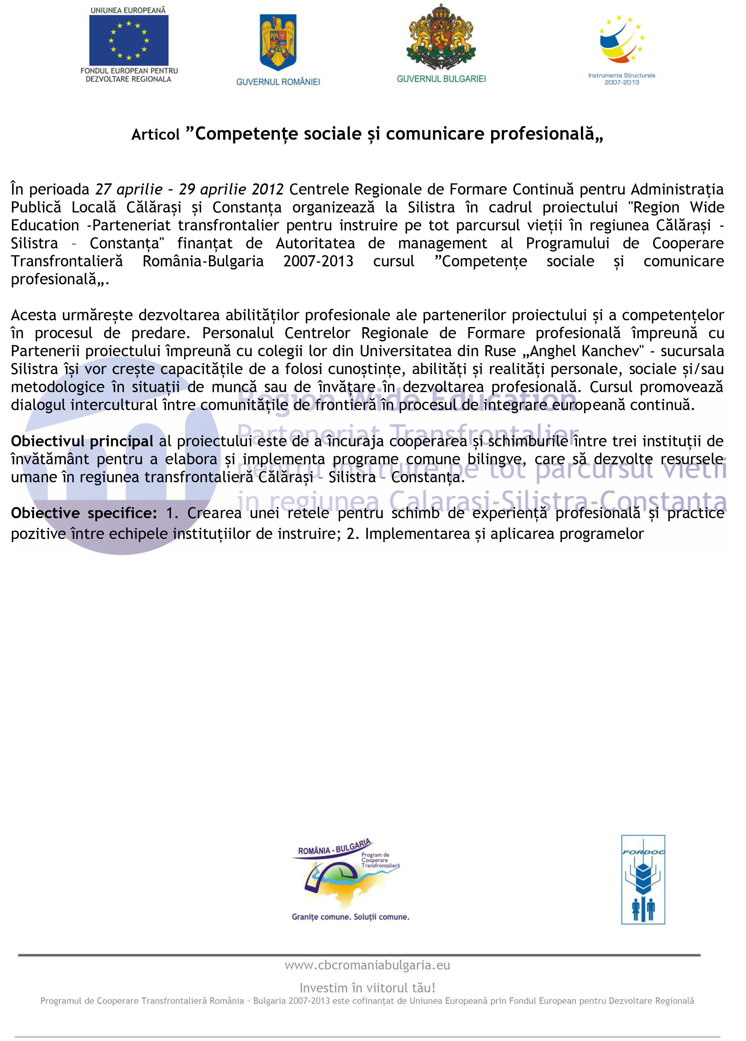 """Articol """"Competențe sociale și comunicare profesională"""""""