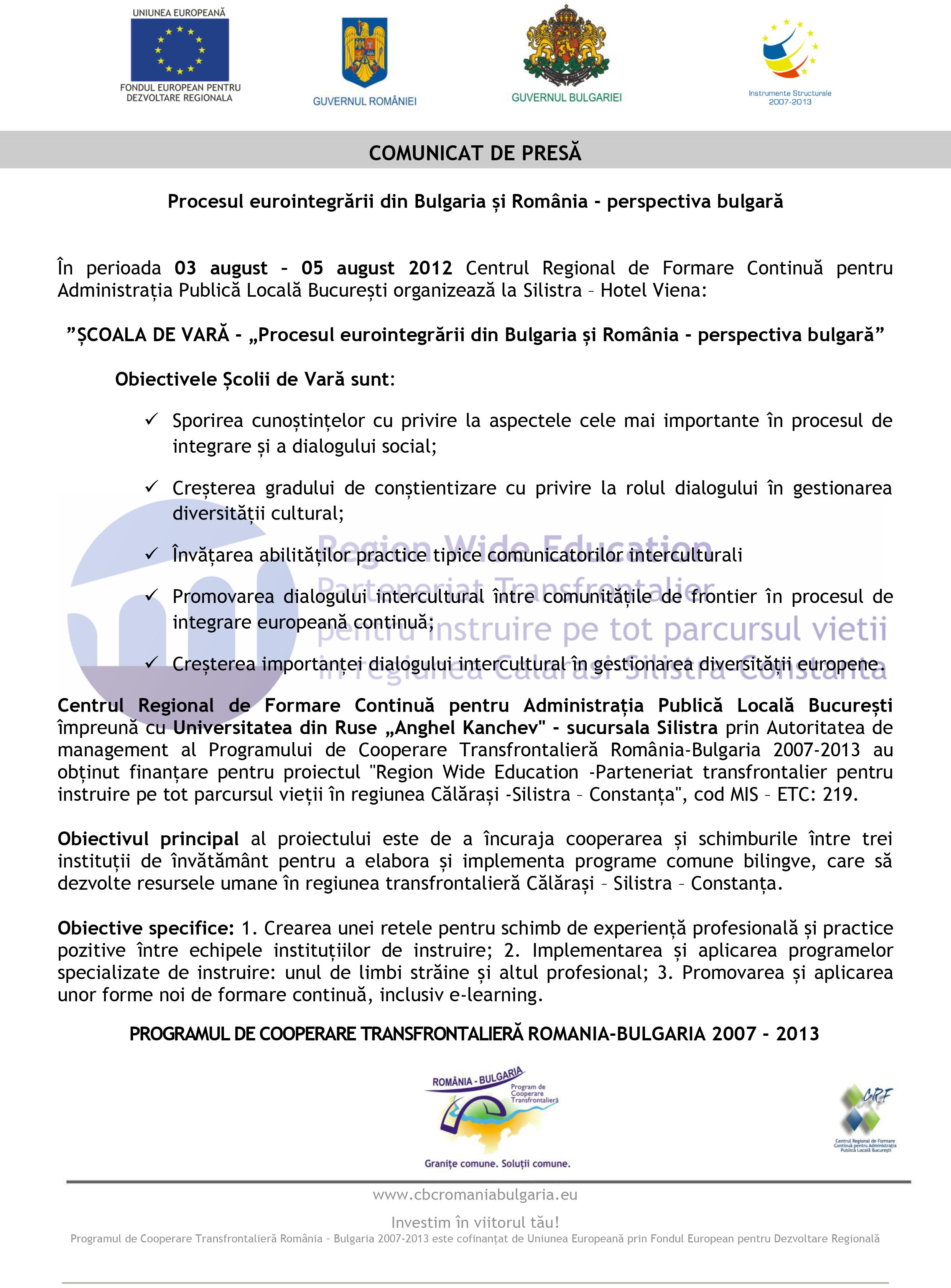 Procesul eurointegrării din Bulgaria și România – perspectiva bulgară