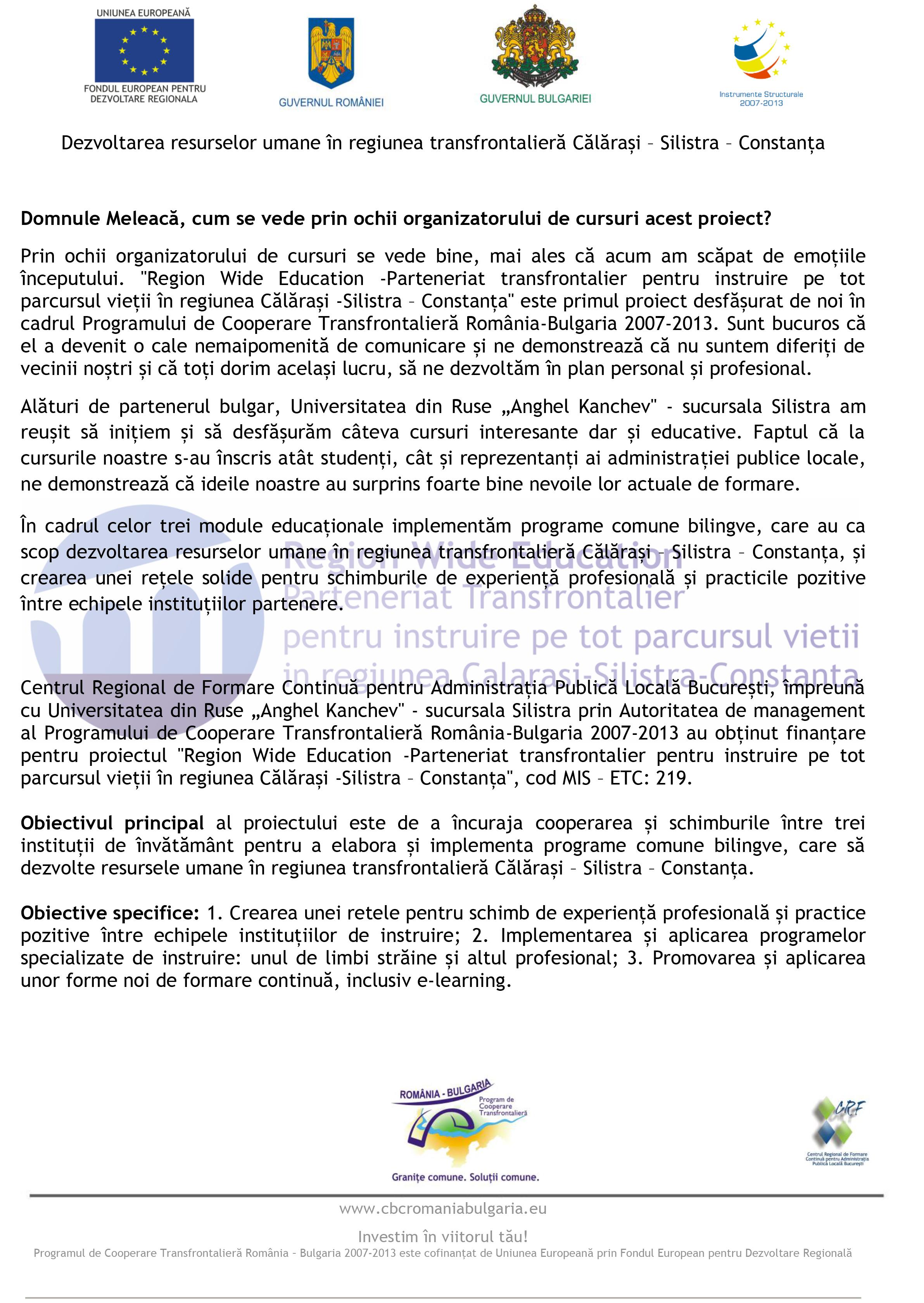 Dezvoltarea resurselor umane în regiunea transfrontalieră Călărași – Silistra – Constanța