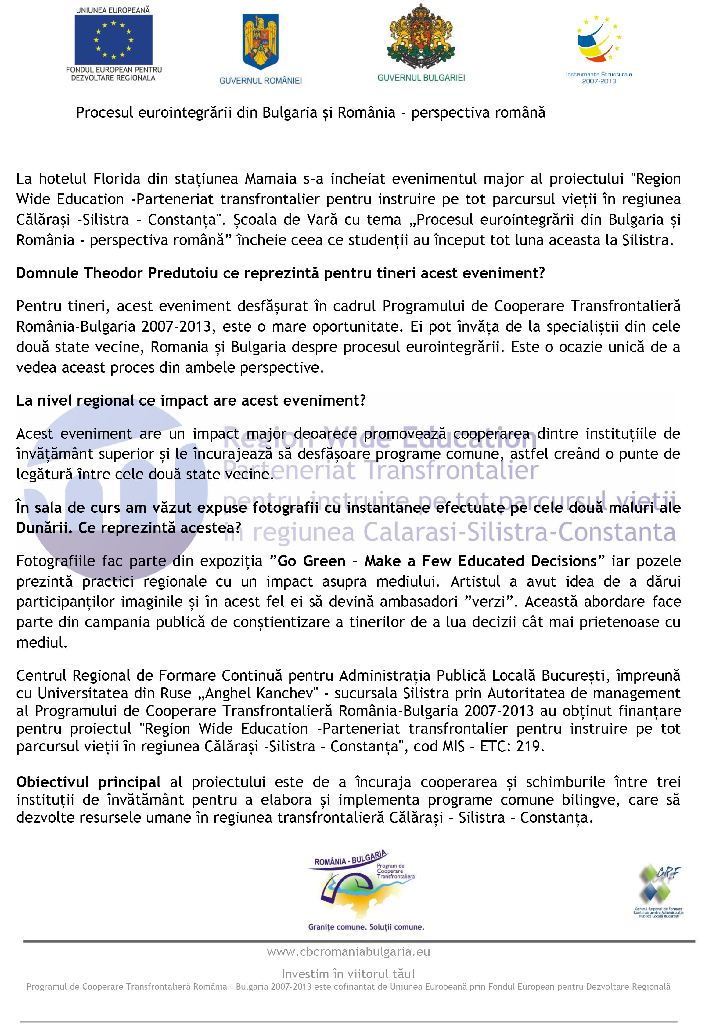 Procesul eurointegrării din Bulgaria și România – perspectiva română