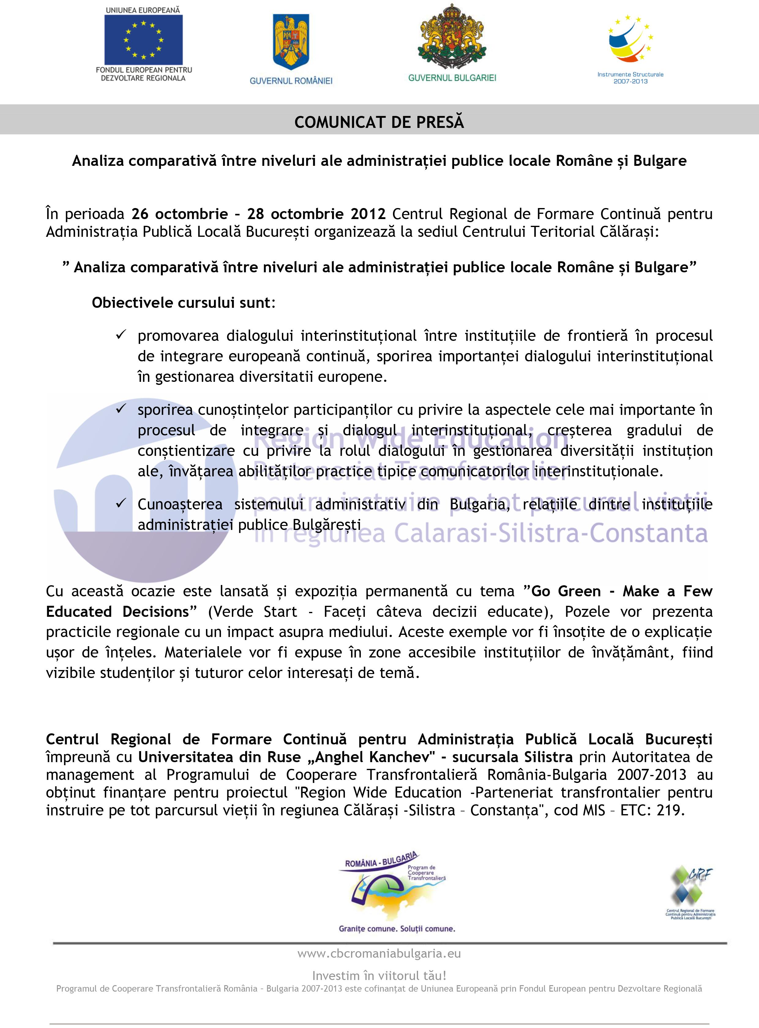Analiza comparativă între niveluri ale administrației publice locale Române și Bulgare
