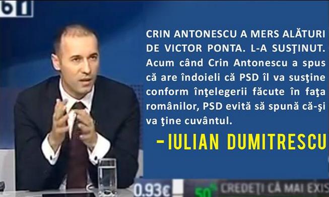 """Iulian Dumitrescu: """"Victor Ponta vinovat pentru ruperea USL, daca se ajunge aici"""""""