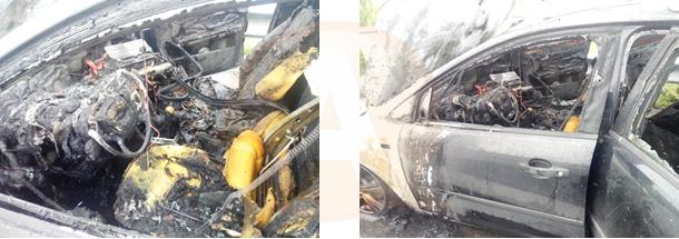 Intervenție la incendiu de autoturism pe A 2, la km 86