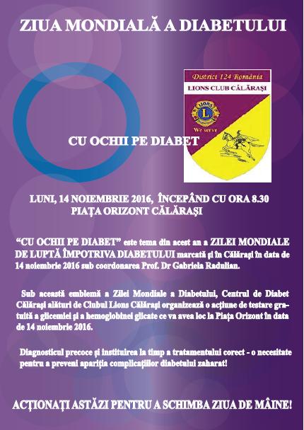 """Călărași/ Luni, 14 noiembrie, are loc acțiunea ,,Cu ochii pe diabet"""""""
