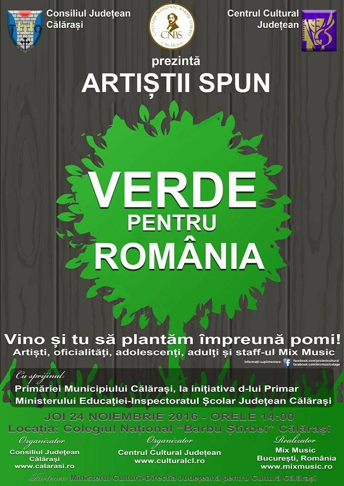 """În Călărași, artiștii spun: """"Verde pentru România!"""""""