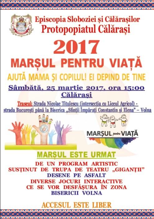 """Sâmbătă, 25 martie/Marșul pentru viață 2017 -""""Ajută mama și copilul! Ei depind de tine"""""""