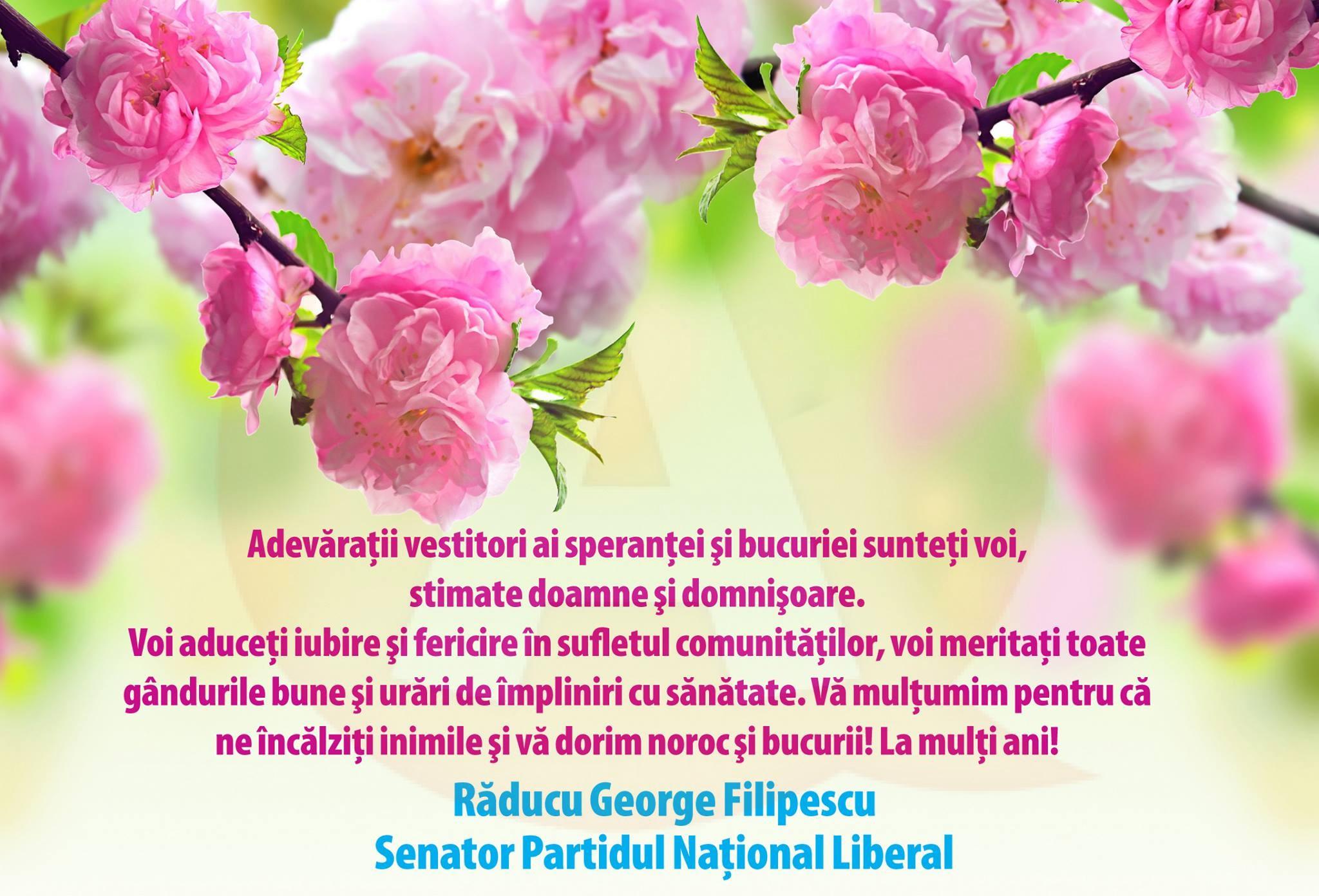 """Sen. Răducu Filipescu: """"Adevăraţii vestitori ai speranţei şi bucuriei sunteţi voi, stimate doamne şi domnişoare"""""""