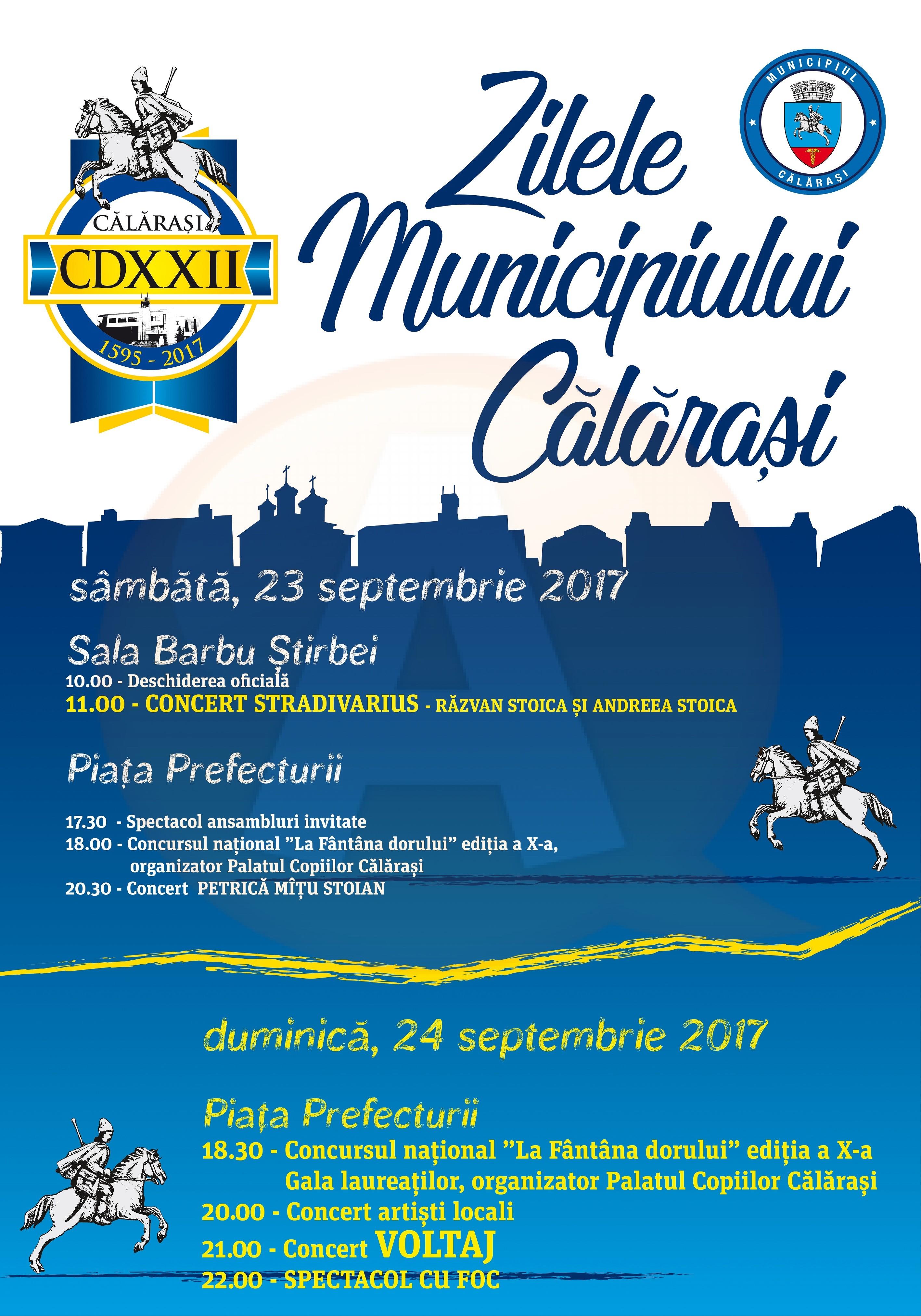 """Sâmbătă, deschiderea oficială a evenimentului ,,Zilele Municipiului Călărași""""-ediția 2017"""