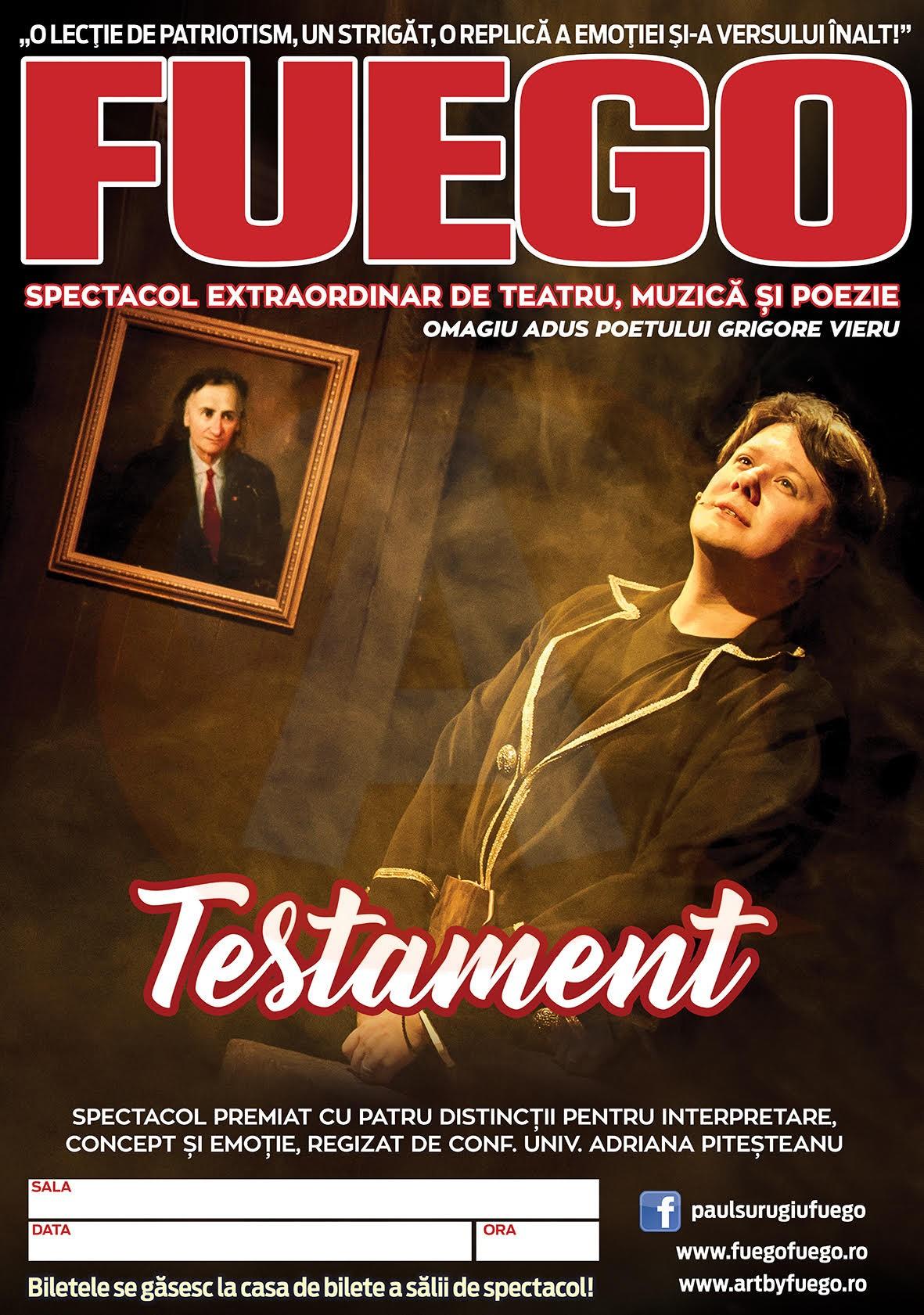 """""""TESTAMENT"""" / Fuego într-un spectacol extraordinar de teatru, muzică și poezie"""