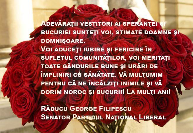 Felictare 8 martie – senator Răducu Filipescu