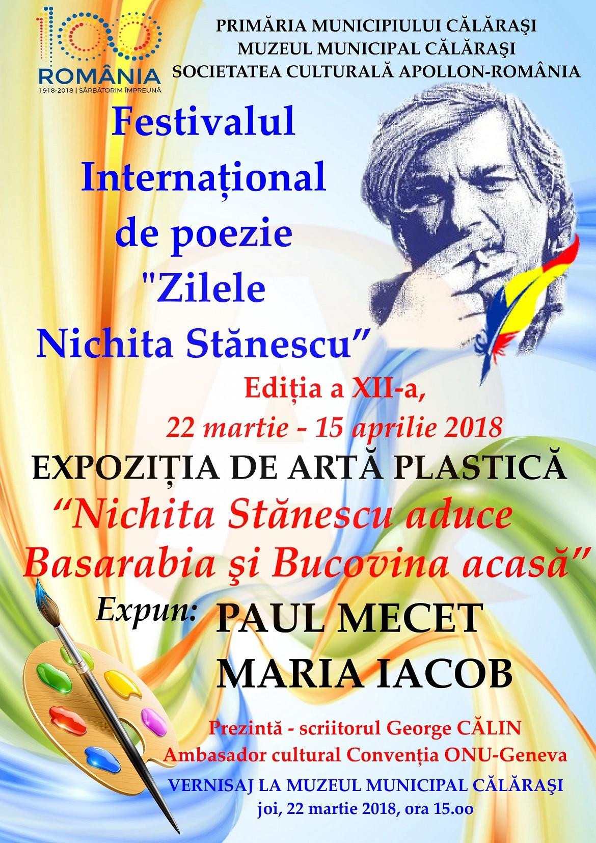 """Festivalului internațional de poezie """"Zilele Nichita Stănescu"""", în municipiul Călărași"""