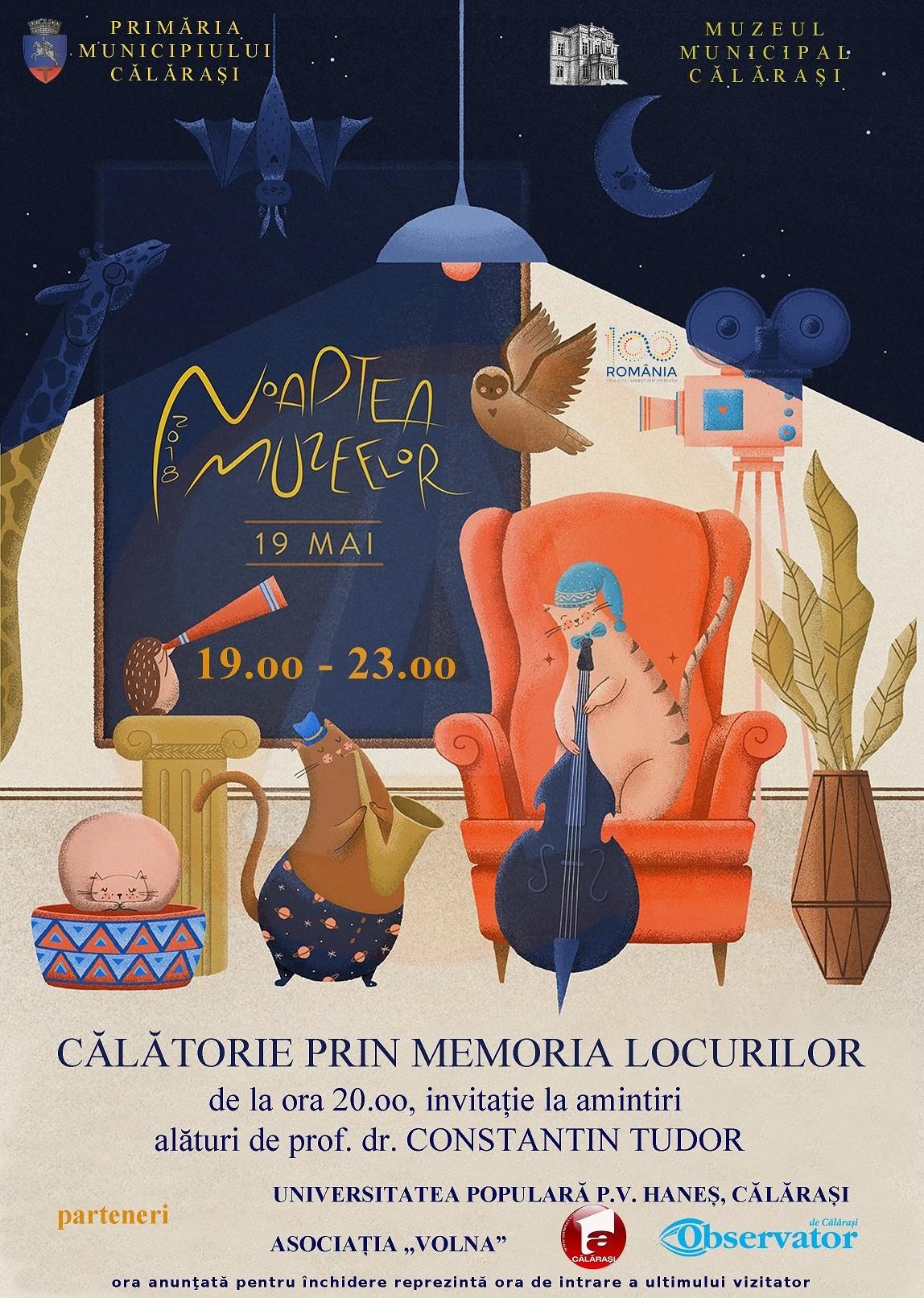 Sâmbătă, 19 mai, Muzeul Municipal Călărași organizează Noaptea Muzeelor 2018