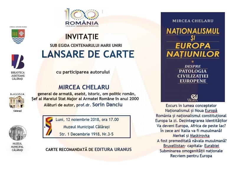 """Lansare de carte: ,,Naționalismul și Europa națiunilor"""", autor Mircea Chelaru"""