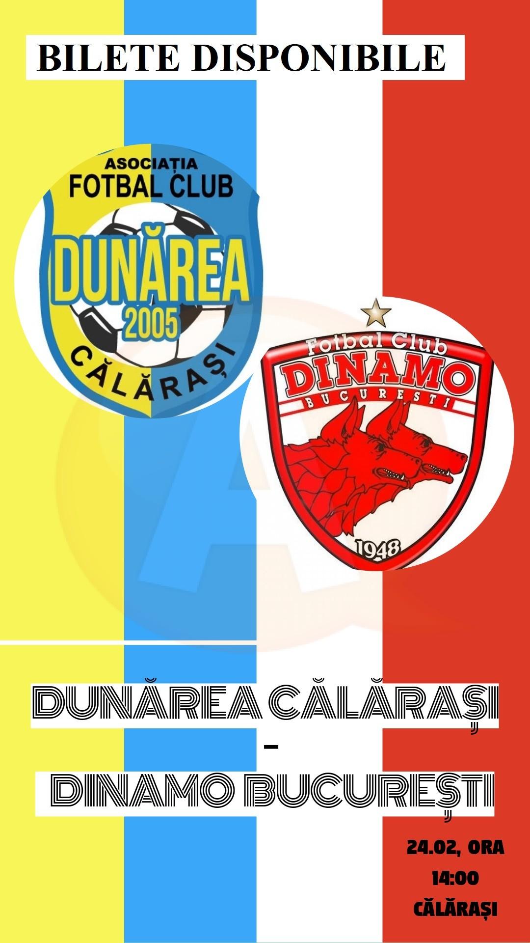S-au pus în vânzare biletele pentru meciul Dunărea Călărași-Dinamo București