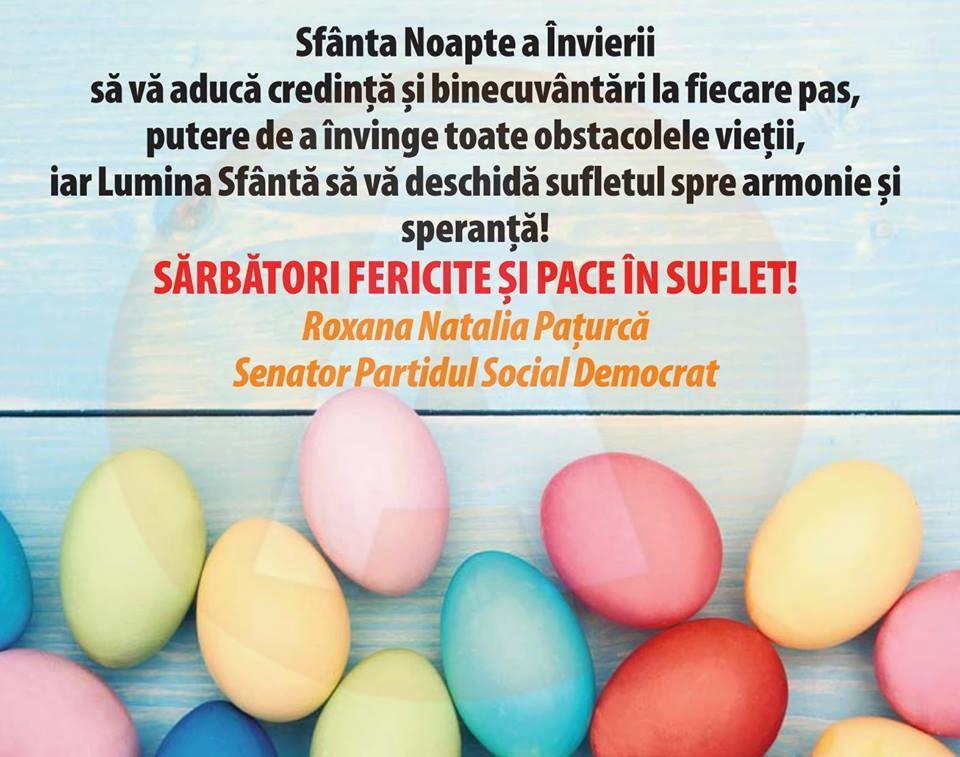 """Roxana Pațurcă, senator PSD:,,Sfânta Noapte a Învierii să vă aducă credință!"""""""
