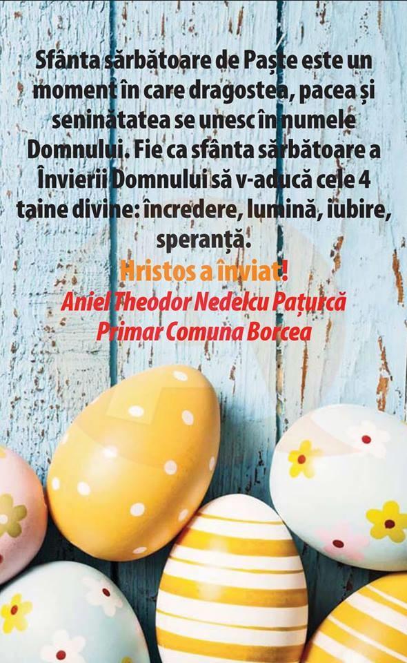 """Aniel Nedelcu Pațurcă: ,,Sfânta sărbătoare a Învierii Domnului să v-aducă lumină și speranță!"""""""