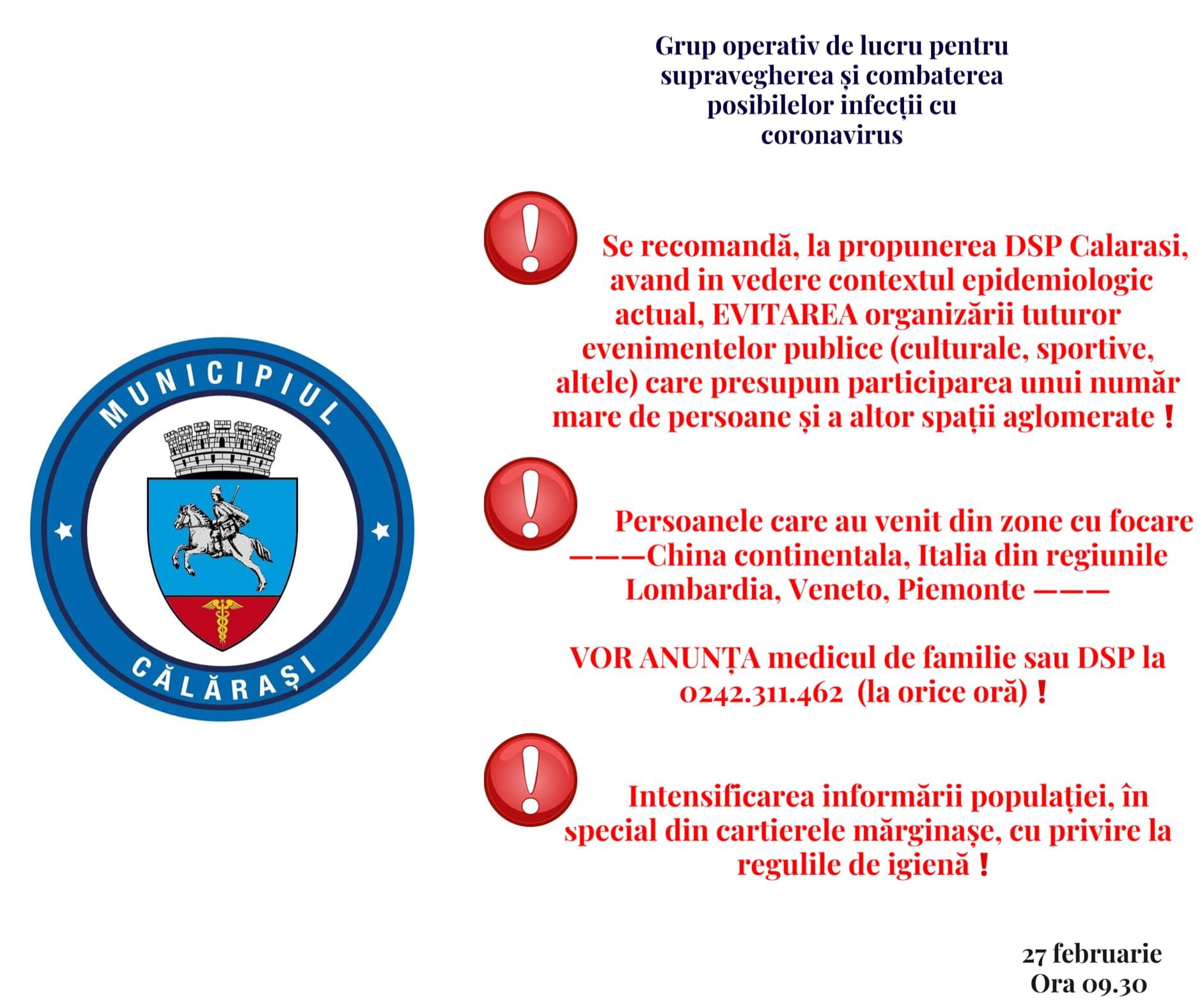 Informare Grup Operativ de Lucru pentru Supravegherea și Combaterea Posibilelor Infecții cu Coronavirus