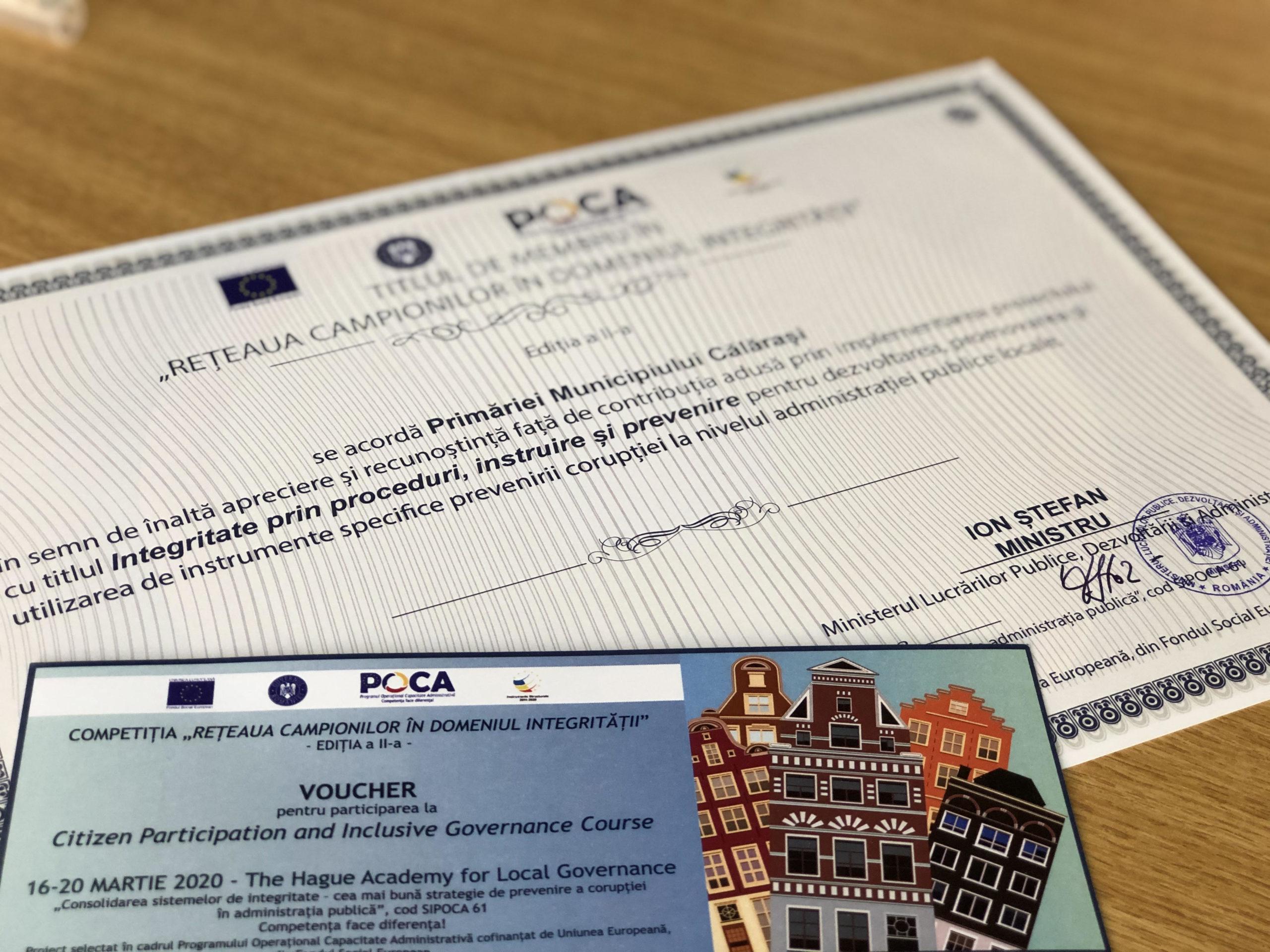 Premiul special obținut de Primăria Municipiului Călărași, în cadrul Rețelei campionilor în domeniul integrității