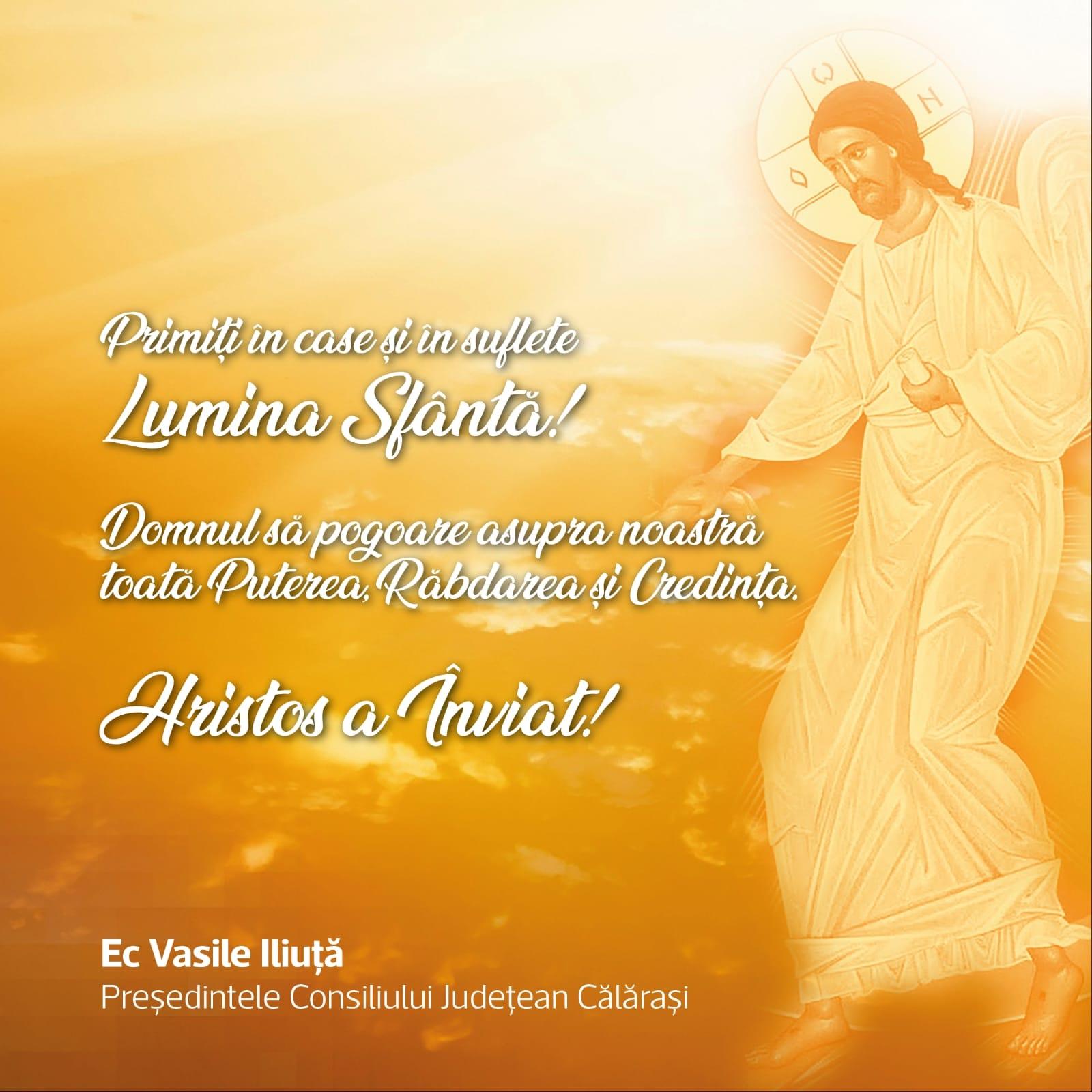 """Președintele C.J.C., Vasile Iliuță: ,,Primiți în case și în suflete Lumina Sfântă"""""""