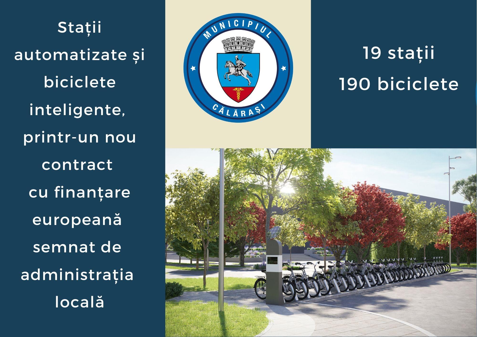 Primăria Călărași/Stații automatizate și biciclete inteligente, printr-un nou contract cu finanțare europeană