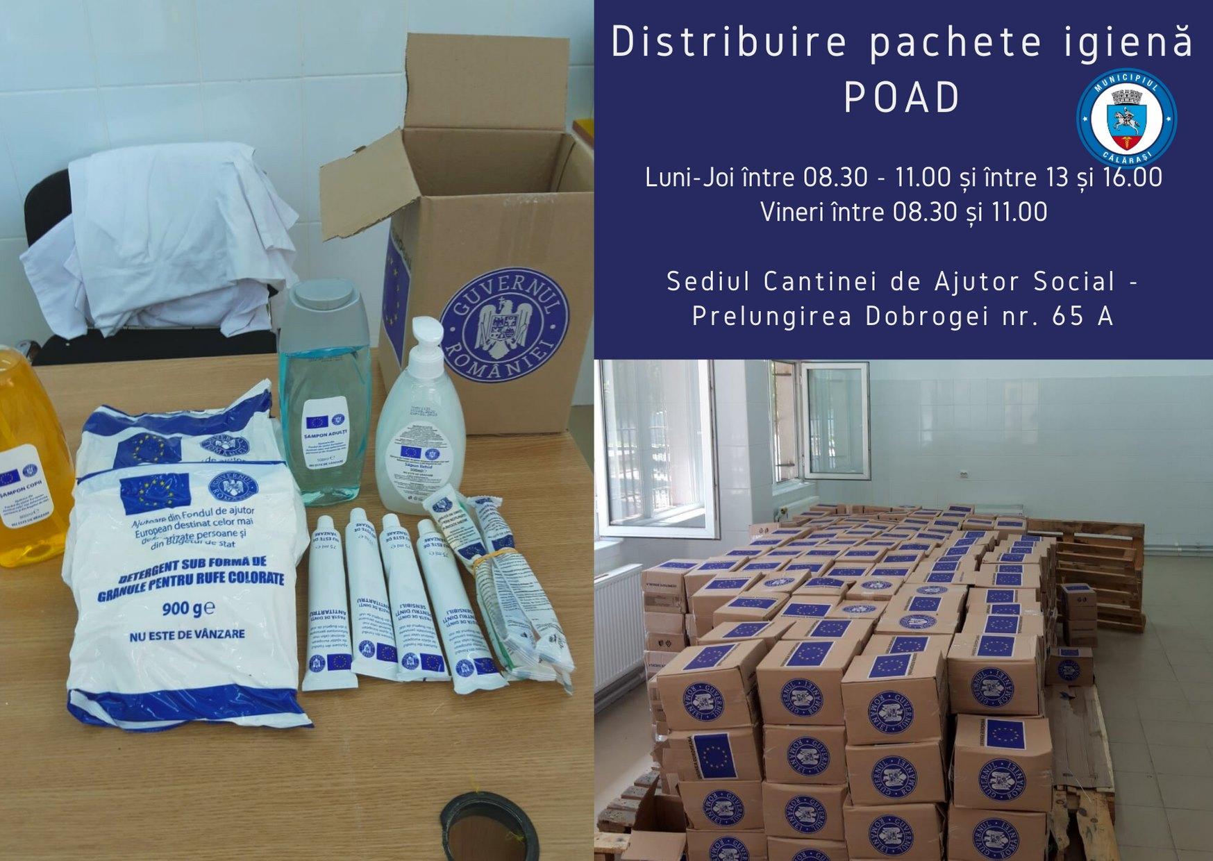 3.500 de călărășeni vor primi pachete de igienă, în cadrul Programului Operaţional Ajutorarea Persoanelor Defavorizate