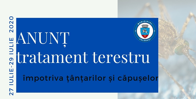 Primăria Călărași/Nou tratament de dezinsecție contra țânțarilor și căpușelor