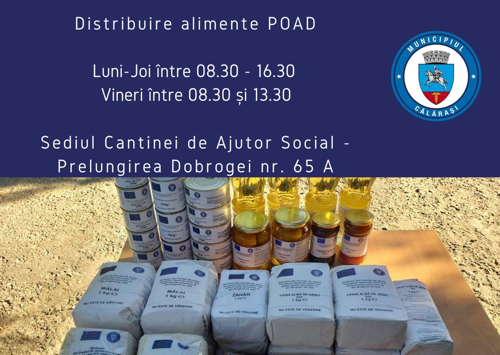 Direcția de Asistență Socială Călărași distribuie la sediul Cantinei de Ajutor Socială produsele cu ajutoare alimentare