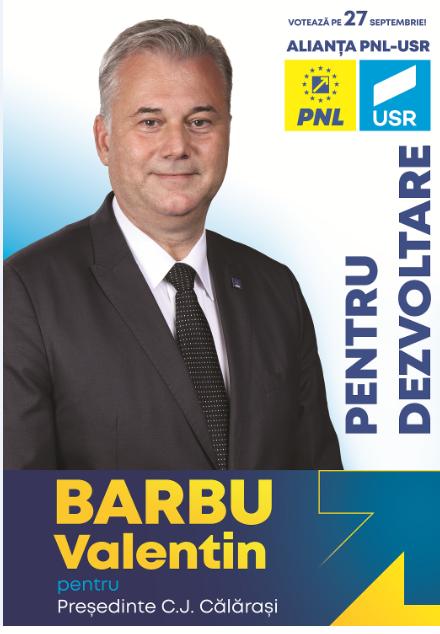 """Valentin Barbu, candidatul PNL-USR pentru Consiliul Județean Călărași: ,,Un nou capitol din ceea ce îmi doresc să realizez în mandatul 2020 – 2024"""""""